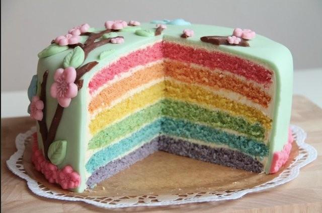 Duhový dort s mascarpone Recept