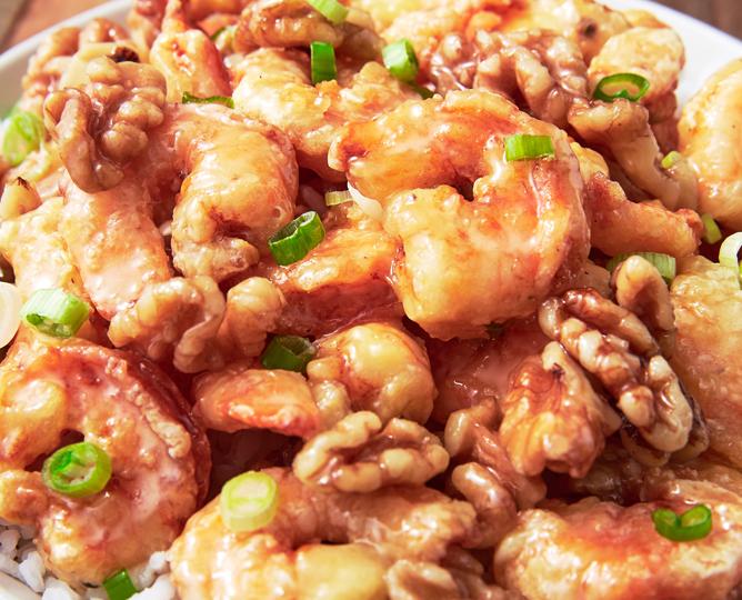 Medové ořechové krevety