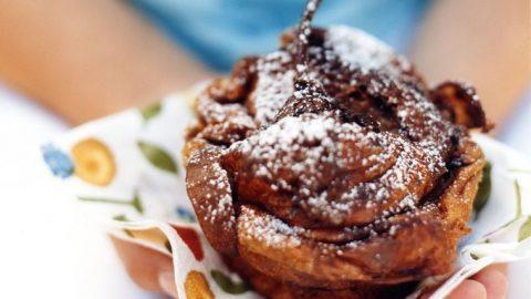 Hruškové a čokoládové croissantové koláče